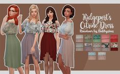 I just adore Ridgeport's Citrine Dress so here are some recolours I made. • Mesh included (also check out the original) • 12 swatches • Custom thumbnail • NO ADFLY (that cursed website) • Base game...