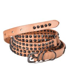 Look what I found on #zulily! Camel Stud-Accent Leather Belt #zulilyfinds