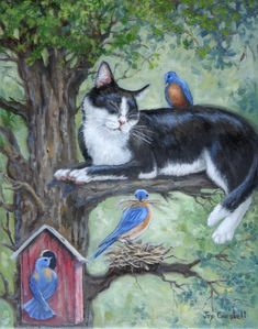 """""""Blue Birds of Happiness"""" by Joy Campbell--oil"""