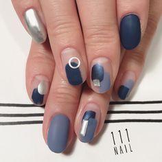 ▫▪⚪◽○ #nail#art#nailart#ネイル#ネイルアート#blue#silver#metallic#マットネイル#ショートネイル#ネイルサロン#nailsalon#表参道#blue111#マットネイル111