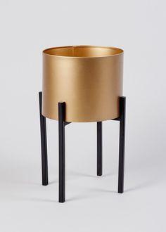 Metal Planter (38cm x 26cm x 26cm) – Gold – Matalan