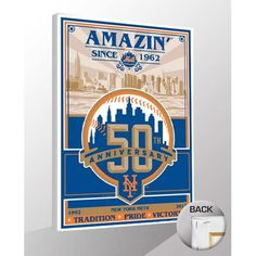 "New York Mets 50th Anniversary Sports Propaganda 19"" x 26"" Canvas Print - $79.99"