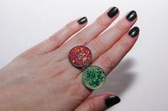 Mermaid Moon Ring Shimmery Glitter Adjustable Rings by JayneKitsch
