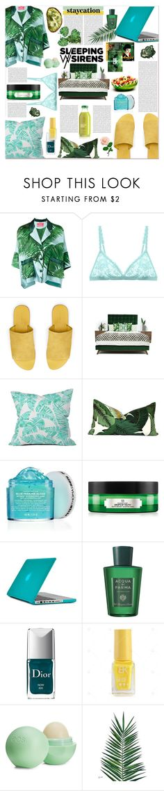 """""""sleeping sirens"""" by ztugceuslu ❤ liked on Polyvore featuring F.R.S For Restless Sleepers, Cosabella, Warehouse, DENY Designs, Peter Thomas Roth, Speck, Acqua di Parma, Christian Dior, Eos and Nika"""