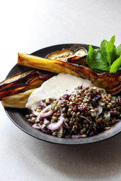 Eggplant and lentil salad with sumac tahini dressing   Quite Good Food