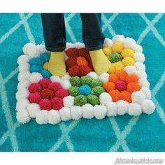 DIY Carpet Pom Pom Step by step DIY Learn how to make a pom pom carpet step by step. Channel: Artencasa Ideas for Pom Pom Carpets: Clone Your Body and Make a Dummy How to Make Catch Crochet Dreams rnrnSource by belilaw Pom Poms, Pom Pom Rug, Pom Pom Crafts, Yarn Crafts, Diy And Crafts, Yarn Projects, Sewing Projects, Tshirt Garn, Pom Pom Maker