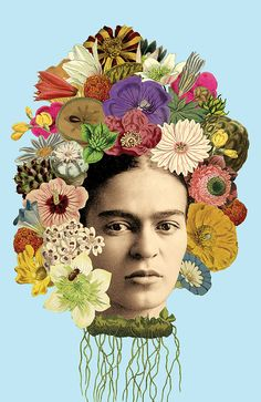 Frida Kahlo Print  - 11x17 or 13x19 Surreal Colorful Botanical Floral Wall Art Print Poster Mixed Media Collage Bohemian Decor Fiesta Art