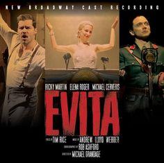'EVITA - 2012 Broadway Cast Recording' con Ricky Martin, Elena Roger y Michael Cerveris. A la venta el 26 de junio de 2012 - http://www.todomusicales.com/content/content/3796/se-edita-el-album-del-nuevo-elenco-de-broadway-de-evita/