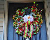 Lighted Christmas Tree Wreath, Christmas Tree, Christmas Tree Wreath, Wreath, Deco Mesh Wreath, Holiday Wreath, Decoration. $67.50, via Etsy.
