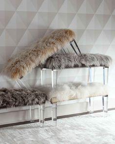 Horchow Massoud Alala 40 L Sheepskin Bench Acrylic Furniture, Furniture Legs, Home Furniture, Furniture Design, Cream Furniture, Furniture Buyers, Furniture Market, Furniture Layout, Rustic Furniture