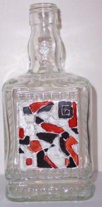 flaska zdobena barvam na sklo