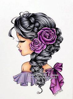 Im designer at Conie Fong Art and Design . She make so many lovely digi stamp. Thought I would share my DT colouring with this lo. Bella Rose, Color Effect, Free Coloring Pages, 30 Day, Copic, Markers, Hair Color, Challenges, Black And White