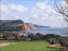 View from Peak Hill looking across Sidmouth to Salcombe Hill and the cliffs beyond. Sidmouth | South Devon | England