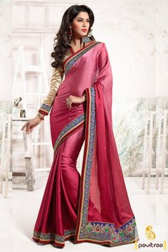 Beautiful crafted Indian fashion designer pink color chiffon de signer party wear saree with full sleeve blouse. Catch the most feminine embroidered lace border sarees in reasonable cost. #saree, #designersaree more: http://www.pavitraa.in/store/designer-collection/