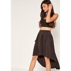 Missguided Dip Hem Scuba Full Midi Skirt ($16) ❤ liked on Polyvore featuring skirts, black, short in front long in back skirt, calf length skirts, high low skirt, short front long back skirt and missguided skirt