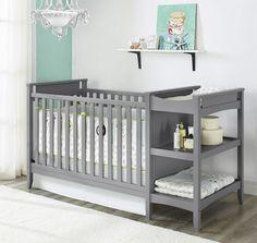 babyzimmer ideen graues babybett wickeltisch