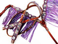 PURPLE Wind LEATHER FRINGE WESTERN HORSE BRIDLE HEADSTALL BREASTCOLLAR TACK SET
