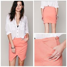 MOA Sena Pencil ✏️Skirt for Free People✏️ MOA Sena Pencil Skirt for Free People This Sena Pencil Skirt is a great business causal or weekend piece, peach colored. Asymmetrical seam. Soft denim pencil skirt with clean lines and pockets at the hips. Side zip and snap closure. Comes with extra snap. Lots of stretch. By Moa for Free People Retail: $188. NWT absolutely new with package of extra snaps still attached. .  ***PRICE FIRM, bundle discount does not apply*** Free People Skirts Pencil