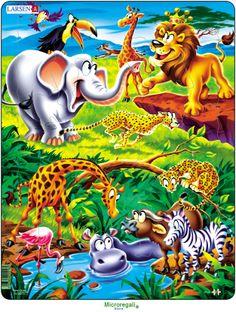 Puzzle per Bambini ANIMALI DELLA SAVANA CARTOONS cm 36x28 (18 pezzi). Larsen. - Puzzle, Puzzle in Legno e Giganti - Regali per i BAMBINI