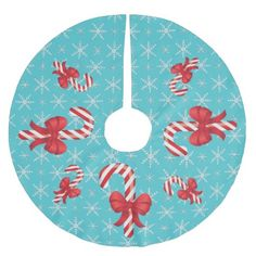 Festive Christmas Candy Canes Brushed Polyester Tree Skirt