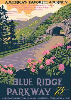 Blue Ridge by serena Blue Ridge Parkway, Montañas Blue Ridge, Posters Decor, Wpa Posters, Retro Posters, Movie Posters, Parc National, National Parks, Vintage National Park Posters
