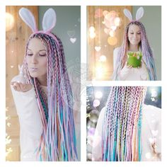 #partnersincrime #easterbunnies #springdreads  Happy Easter Loves  Thanks for all of your orders lately   We are super happy and thankful   Photos by: @flybyfranzi  #dready #dreads #wooldreads #unicorn #wolldreadlocks #wooldreadlocks #festivalstyle #wolldreads #rastas #pasteldreads #makeup #pastelmakeup #crueltyfree #handmade #katinkadreads #dreadlocks #wooldreads #springtime