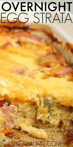 Overnight Egg Strata Recipe. This is so easy to throw together for a quick breakfast. Make for Easter & Christmas morning! Or this would be the best recipe for Mother's Day brunch!