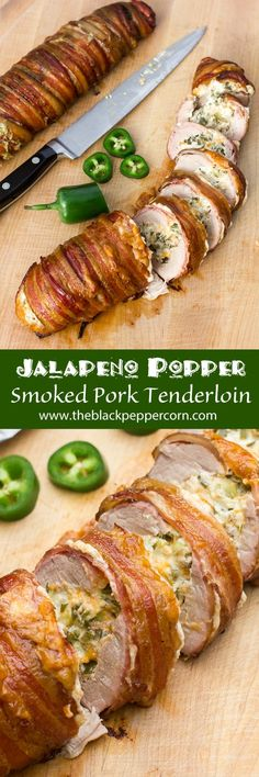 Jalapeño Popper Stuffed Smoked Pork Tenderloin Wrapped in Bacon Grilling Recipes, Pork Recipes, Chicken Recipes, Stuffed Food Recipes, Smoker Grill Recipes, Best Bbq Recipes, Smoked Meat Recipes, Game Recipes, Barbecue