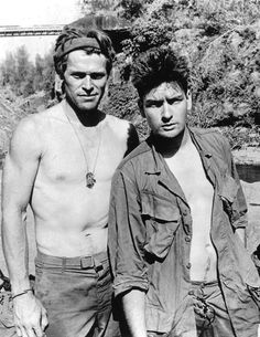 "Willem Dafoe and Charlie Sheen,, ""Platoon"" - 1986. Oliver Stone, dir., movie, powerful, intense, strong, emotionel, expression, portrait, photo b/w"