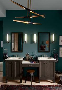 Poplin Vanity    Poplin Lap Drawer    Margaux Faucet    Caxton Sink    Solid/Expressions Vanity Top     Make smart use of bathroom real-estate by connecting dual styling spaces with a lap drawer to create a seated area for applying makeup.