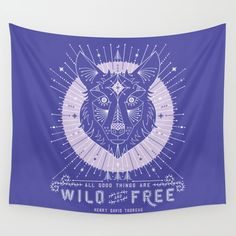 Wild & Free Wolf � Periwinkle Wall Tapestry. #drawing #digital #typography #illustration #vector #wolf #wolves #nature #thoreau #howl #wilderness #wild #forest #majestic #native
