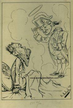 Louis XVI, décapité le 21 janvier 1793, apparaît en rêve à un Nicolas II très effrayé. Projet pour un dessin de presse, très certainement en référence à la Révolution de 1905 en Russie. Encre de Chine, illustrateur Moloch (1849-1909). Original document. www.lesimagesdemarc.com
