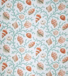 Upholstery Fabric-Eaton Square Coral And Shells-Teal Opt at Joann.com