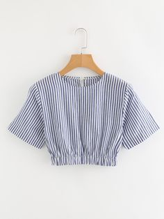 2019 Trendy Contrast Striped Crop Blouse For Women Girls Fashion Clothes, Teen Fashion Outfits, Look Fashion, Girl Fashion, Crop Top Outfits, Cute Casual Outfits, Chic Outfits, Girl Outfits, Vetement Fashion