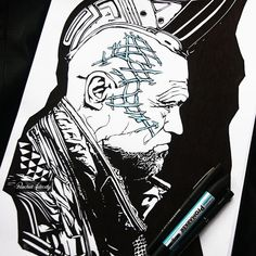 The drawing as it appears in the sketchbook, since scanning b&w drawings usually makes it look like digital art. #Yondu from Guardians of the Galaxy, drawn with black ink pens and blue promarker. #guardiansofthegalaxy #gotg #marvelcomics #michaelrooker #comicbooks #marvel #fanart #drawing #sketch #blackpen #instaart #promarker #ink #sketchbook #artist #portrait #art