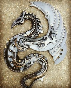 Dragon by alanwilliamsmetalartist #steampunktendencies #scrapart #sculpture #metalart #carparts #upcycle #steampunk #dragon