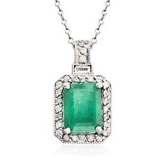 We love how this pendant necklace could easily be mistaken as a vintage jewel. Set in 14kt white gold, .30 ct. t.w. of round and baguette diamonds glimmer around a 2.50 carat emerald-cut emerald. Suspends from a cable chain with a lobster clasp. Emerald pendant necklace. Free shipping & easy 30-day returns. Fabulous jewelry. Great prices. Since 1952.