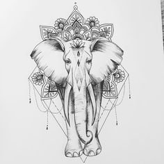 Boho Tattoos, Spine Tattoos, Unique Tattoos, Cute Tattoos, Body Art Tattoos, Tattoo Drawings, Sleeve Tattoos, Tatoos, Mandala Elephant Tattoo