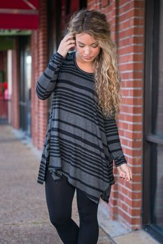 All Lined Up Tunic, Black
