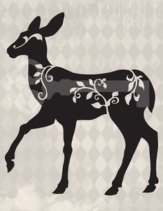 filigree deer silhouette original illustration by TanglesGraphics, $1.00