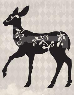 filigree deer silhouette original illustration by TanglesGraphics, $1.00