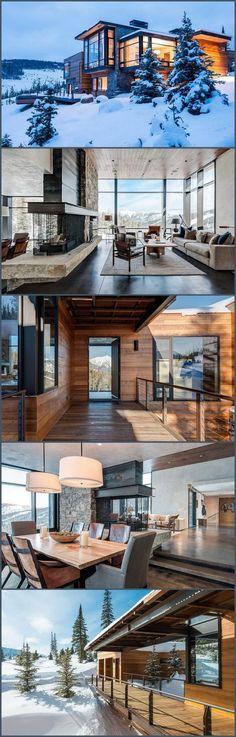 Modern Montana Mountain Home - Colorado. Modern Montana Mountain Home - Colorado. Style At Home, Chalet Design, Casas Containers, Mountain Homes, Mountain Modern, Mountain View, Mountain Home Exterior, Mountain Living, Modern House Design