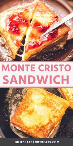 A classic Monte Cristo Sandwich is layers of cheese, ham and turkey in between bread that is dipped in an egg batter and then pan or deep fried. You can finish it off with a dusting of powdered sugar and jam if you Salami Sandwich, Mozzarella Sandwich, Toast Sandwich, Sandwiches For Lunch, Soup And Sandwich, Egg And Cheese Sandwich, Grill Cheese Sandwich Recipes, Healthy Sandwiches, Monte Cristo Sandwich