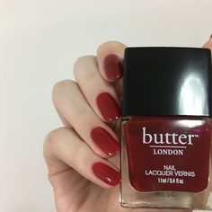 Nontoxic Nail Polish In a dark blood red color. Nail Polish Crafted Without Harmful Ingredients. Nail Polish Crafts, Nail Polish Art, Nail Art, Butter London Saucy Jack, Butter London Nail Polish, Blood Red Color, London Nails, Beauty Hacks, Beauty Tips