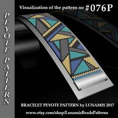 peyote bracelet pattern, bead pattern, beading, peyote stitch, jewelry pattern, peyote bracelet Bracelet design /pdf format/ pattern only. Create this beautiful peyote cuff bracelet. This is a DIGITAL product, no physical goods will be sent! (Materials are NOT included!) Miyuki