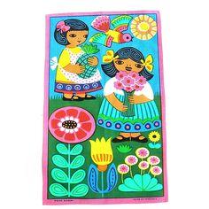 Mod •~• vintage flower garden tea towel, made in Venezuela