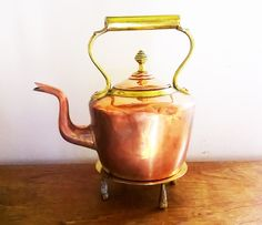 Charming Old Copper and Brass Kettle with Brass Stand by RAVERETRO