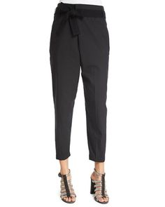 B34RM Brunello Cucinelli Crossover Belted Cropped Pants, Black
