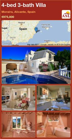 4-bed 3-bath Villa in Moraira, Alicante, Spain ►€975,000 #PropertyForSaleInSpain
