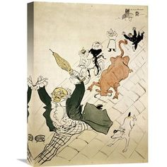 Global Gallery 'La Vache Enragee' by Henri Toulouse-Lautrec Graphic Art on Wrapped Canvas Size: